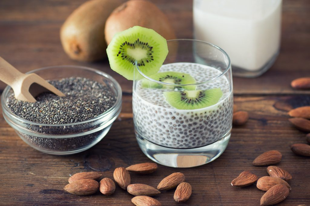 Chia seed pudding with kiwi