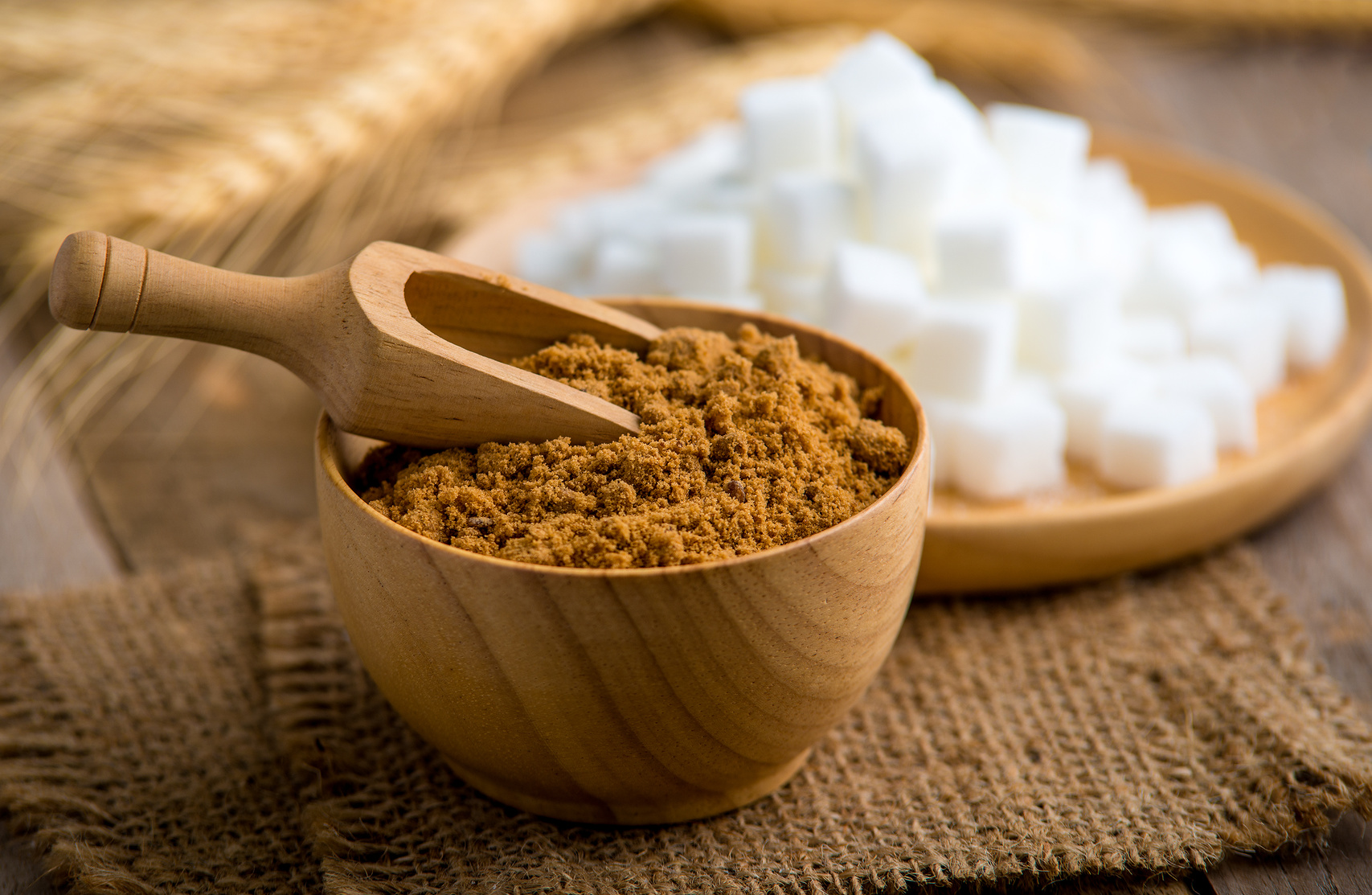 coconut palm sugar against an out of focus